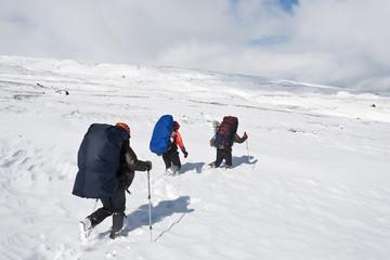 Hiking in winter.