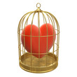 Birdcage with red heart inside