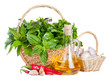 Fresh herbs with olive oil and spices. On a white background
