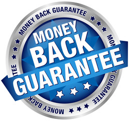 "Button Banner ""Money Back Guarantee"" Blue/Silver"