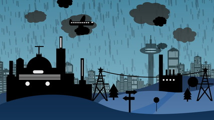 Fabrik im Regen (Cartoon)