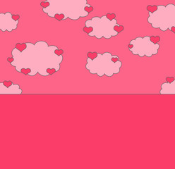 love background with hearts on the clouds and place for text