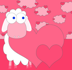 love background with sheep in love