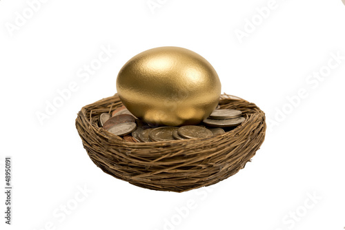 Golden Egg Laying On Coins Isolated On White