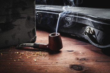 pipe smoke and old object