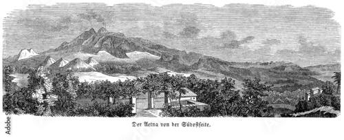 Ansicht des Ätna im 19. Jahrhundert (Alte Lithographie) - 48950725