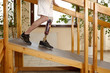 Male prosthesis wearer training on slopes