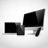 Realistic vector of laptop, tablet, monitor and mobile phone