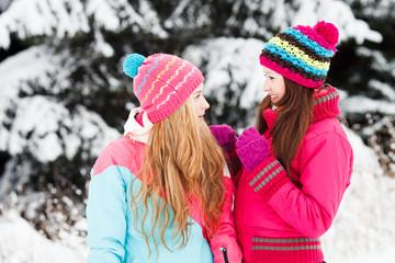 Two Beautiful Girls in winter outdoors