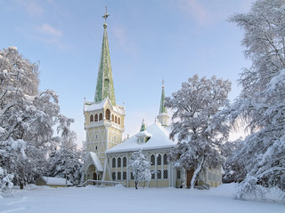 Jokkmokk New Church in winter, Sweden