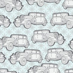 Seamless background with retro car