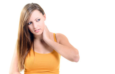 Beautifull woman  holding her neck because of pain isolated