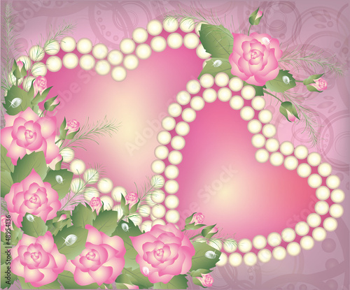 Valentine's Day postcard with two pearl hearts