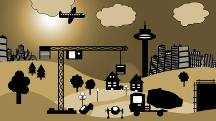 Baustelle vor Skyline (Cartoon)