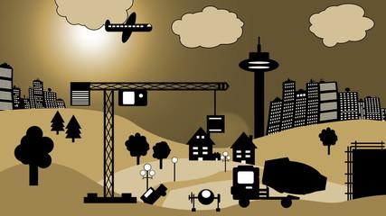 Baustelle vor Skyline (Cartoon)