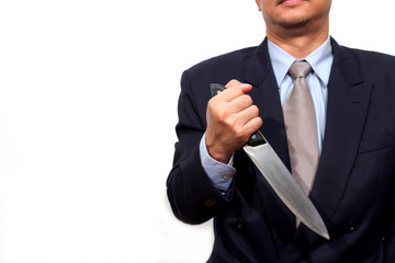 Man with knife. Isolated on white.