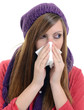 Woman sneezing into handkerchief. Virus.Medicines