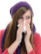 Woman sneezing into handkerchief. Virus.Medicines