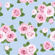 Seamless background with pink roses on blue. Vector illustration