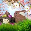Frohe Ostern: Osternest mit Schokohasen