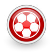 soccer red circle web icon on white background