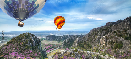 Lanscape of mountain and balloon