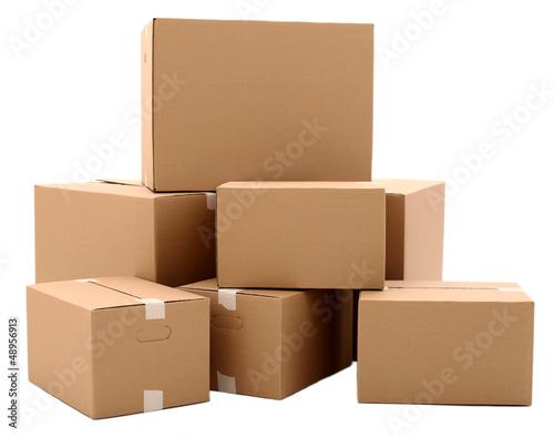 Leinwandbild Motiv Carton boxes isolated over white background