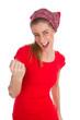 Frau isoliert in Rot freut sich