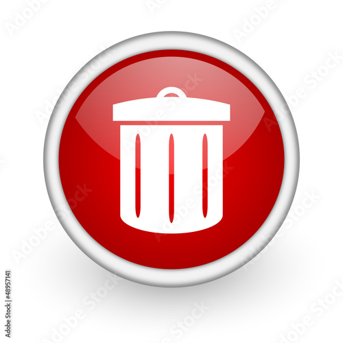 recycle red circle web icon on white background