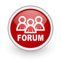 forum red circle web icon on white background
