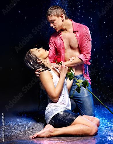 Couple  under  water drop.