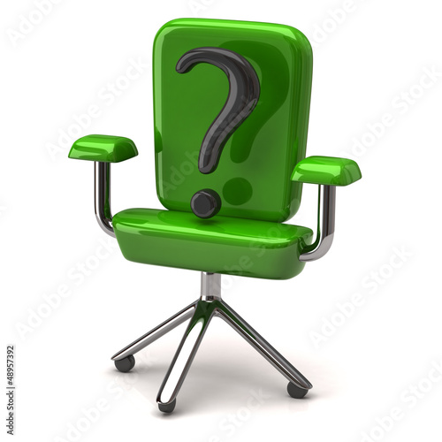 Stilyzed green office chair with question mark, 3d