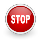 stop red circle web icon on white background