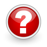 question mark red circle web icon on white background