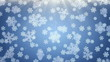 Snowflakes falling on blue background, loopable.