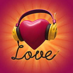 Romantic musical concept. Red Valentine heart with headphones.