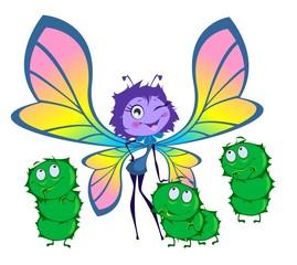 Бабочка и три гусеницы