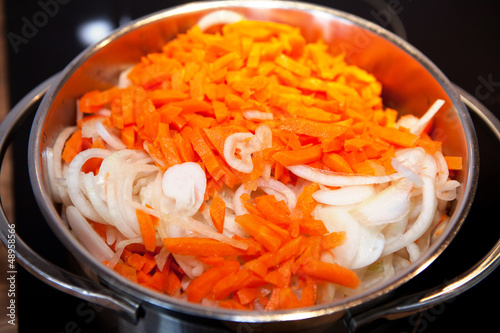 carrots an onions for Dutch hutspot stew