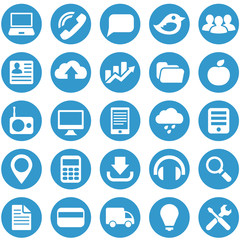 Icons for web site in blue circle.