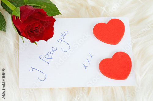 Romantic note: I love with red rose and hearts