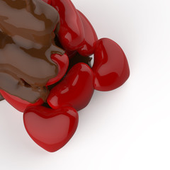 close up chocolate syrup leaking over heart shape symbol