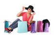 Happy woman with shopping bags