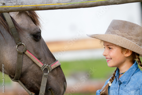 Ranch - girl with horse on the ranch, horse whisperer