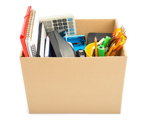 Personal belongings in cardboard box – job loss concept