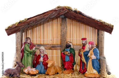 Weihnachtskrippe vor weißem Hintergrund - 48959939