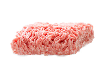 isolated raw minced beef on white