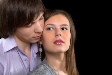 Closeup portrait of a young couple