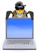 Penguin rapper looks over a laptop