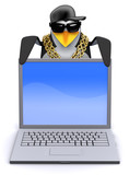 Penguin rapper looks over a laptop