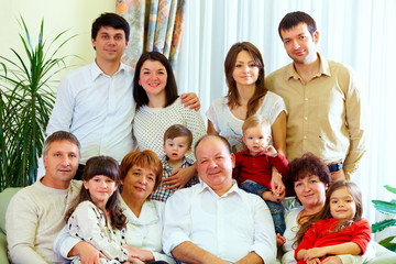 big family at home